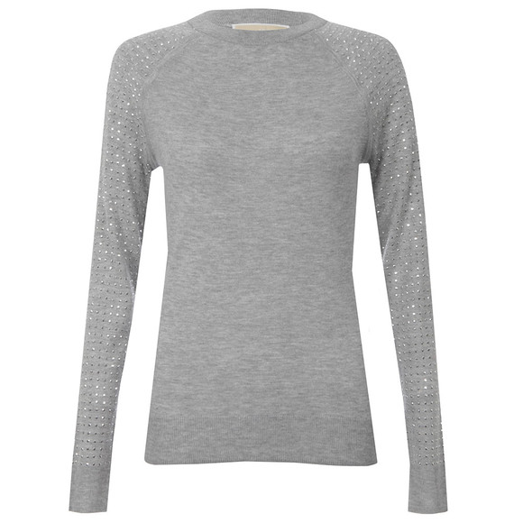 Michael Kors Womens Grey Stud Sleeve Sweater  main image