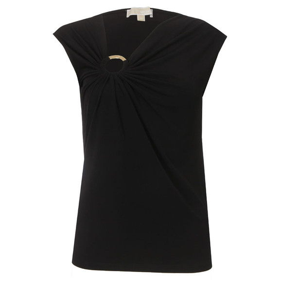 Michael Kors Womens Black Sleeveless Shirred Ring Top main image