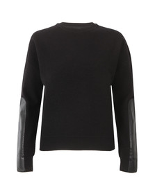 Ted Baker Womens Black Phillia Leather Trim Sweater