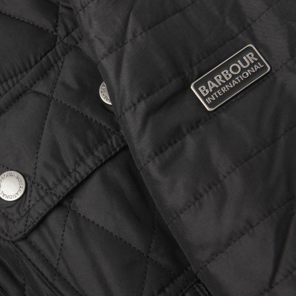 Barbour International Womens Black Fireblade Ribbed Quilted Jacket main image