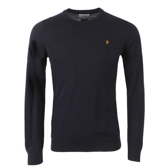 Farah Mens Blue Mullen Wool Crew Jumper main image