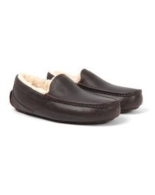 Ugg Mens Brown Ascot Leather Slipper