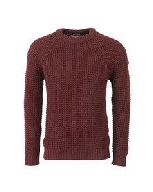 Peregrine Mens Red Waffle Crew Neck Jumper