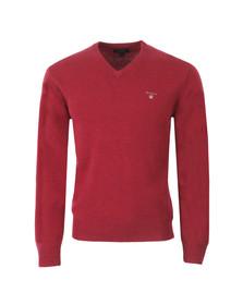 Gant Mens Red Gant Solid Lambswool V Neck Jumper