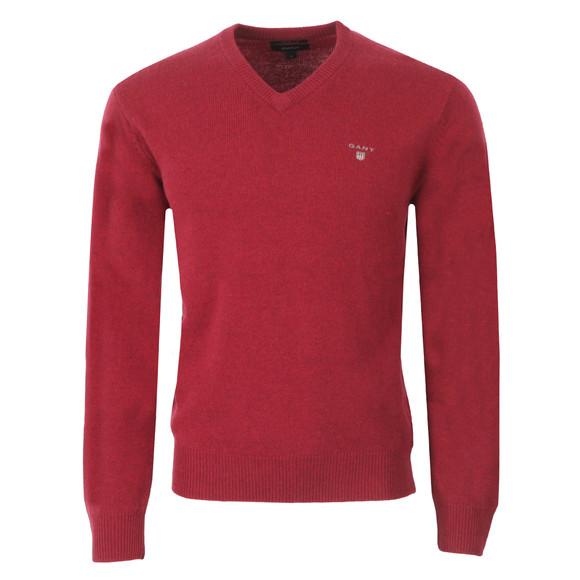 Gant Mens Red Gant Solid Lambswool V Neck Jumper main image