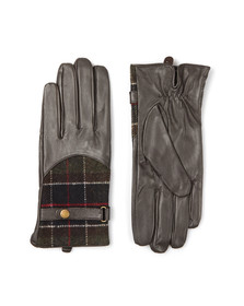Barbour Lifestyle Womens Brown Dee Tartan Leather Glove