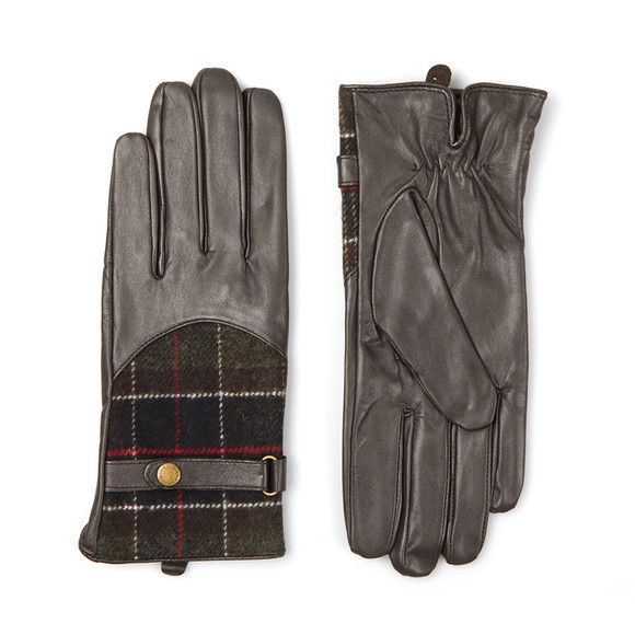 Barbour Lifestyle Womens Brown Dee Tartan Leather Glove main image