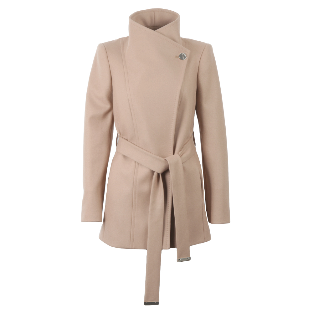 running shoes differently hot-selling authentic Womens Beige Paria Short Button Detail Wrap Coat