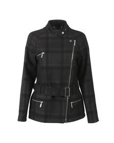 Barbour International Womens Black Katana Check Wool Jacket