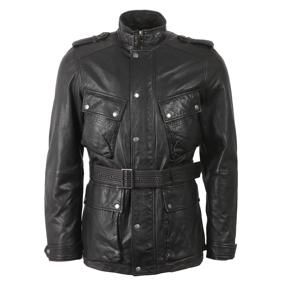 Pretty Green Cardale Belted Biker Jacket  c68cb60c9bf0
