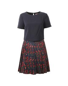 Ted Baker Womens Blue Delorez Cherry Print Pleat Skirt Dress