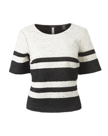 Maison Scotch Womens Black Boxy Fit Top With Stripes