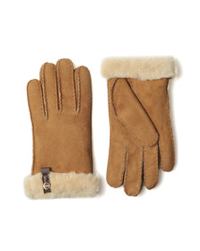 Ugg Womens Brown Tenney Glove With Leather Trim