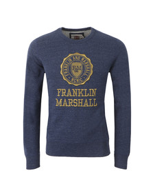 Franklin & Marshall Mens Blue Large Embroidered Crest Sweat