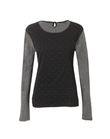 Maison Scotch Womens Black Mixed Fabric Top