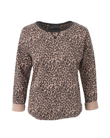 Maison Scotch Womens Brown Animal Printed Burnout Sweat Top