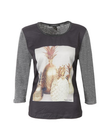 Maison Scotch Womens Black Photoprinted Burnout Top