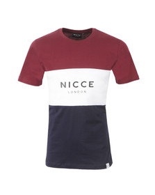 Nicce Mens Red Triple Panel T-Shirt