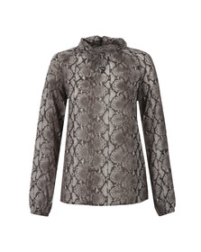 Michael Kors Womens Black Anaconda Turtle Neck Blouse
