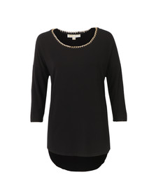 Michael Kors Womens Black Chain Neck Top