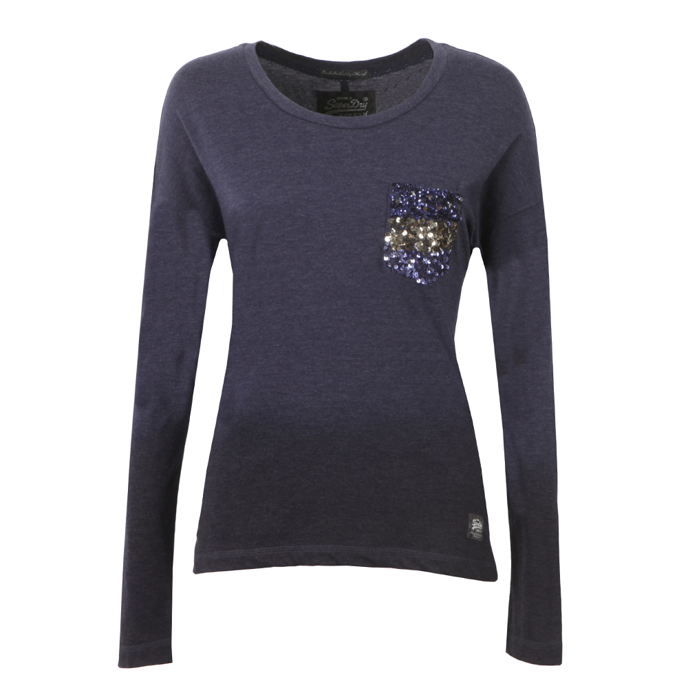Ombre Sequin Pocket Long Sleeve T Shirt main image