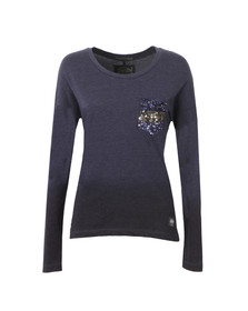 Superdry Womens Blue Ombre Sequin Pocket Long Sleeve T Shirt