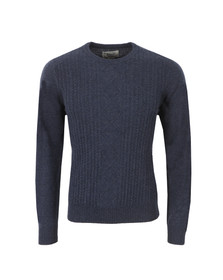 Original Penguin Mens Blue Engineered Aran Jersey Knit