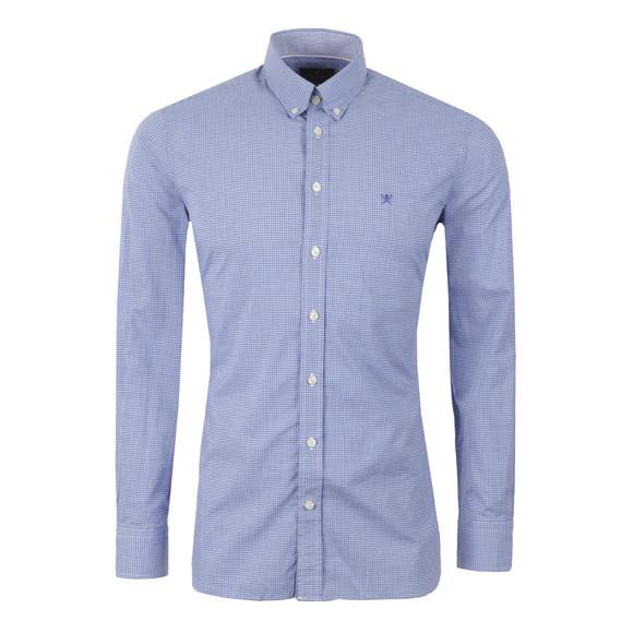 Hackett Mens Blue L/S Gingham Multi Trim Shirt main image