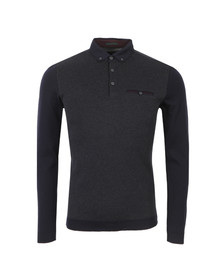 Ted Baker Mens Blue Dogtooth LS Ribstart Polo