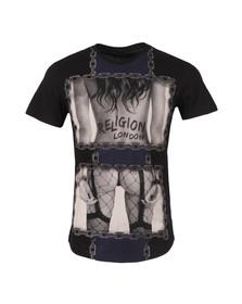 Religion Mens Black Chain Curve Hem T Shirt