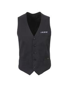 Scotch & Soda Mens Blue Classic Waistcoat With Fixed Pocket