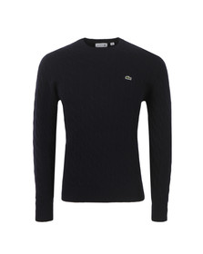 Lacoste Mens Blue Cable Knit Crew Neck Jumper