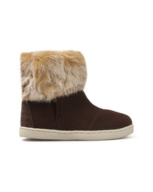 Toms Girls Brown Suede Faux Fur Nepal Boot
