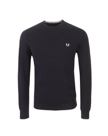 Fred Perry Mens Blue Tuck Stitch Crew Sweat