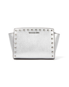 Michael Kors Womens Silver Selma Stud Messenger Bag