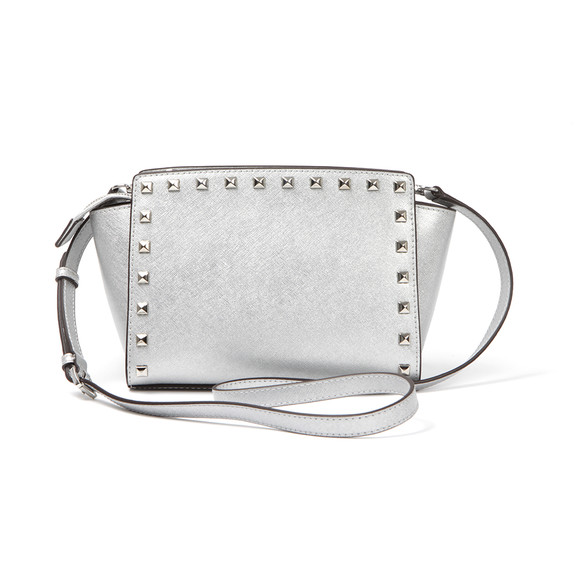 Michael Kors Womens Silver Selma Stud Messenger Bag main image