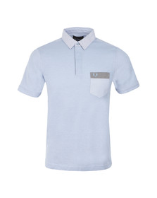 Fred Perry Mens Blue S/S Woven Collar Trim Polo Shirt
