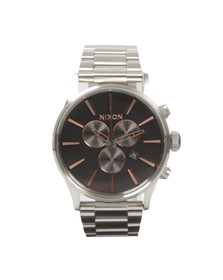 Nixon Mens Silver Sentry Chrono Watch
