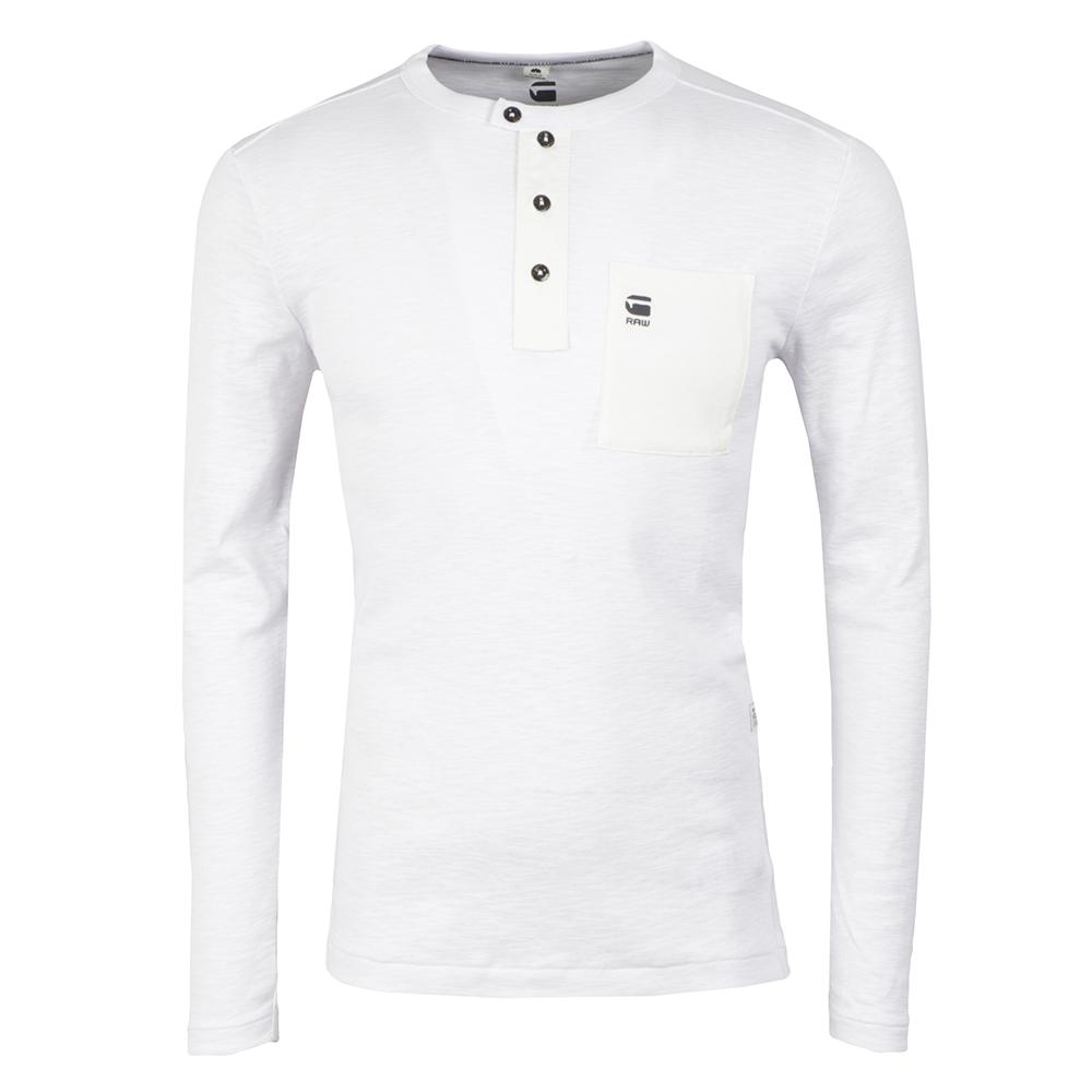 2061cfa036 G-Star Mens White Mazuren Slim Grandad Long Sleeve T Shirt