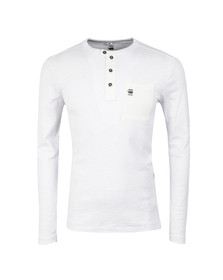 G-Star Mens White Mazuren Slim Grandad Long Sleeve T Shirt