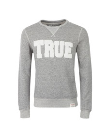 True Religion Mens Grey True Crew Neck Sweatshirt
