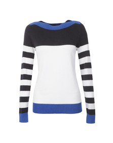 Michael Kors Womens Blue Colour Block Wide Neck Jumper