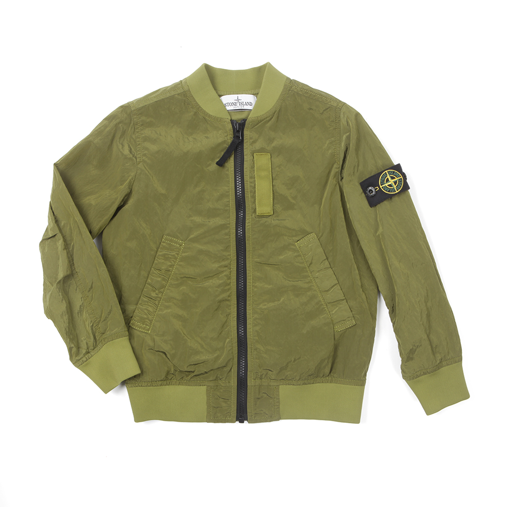 b1a41f206 Boys Green Crinkle Reps Bomber Jacket