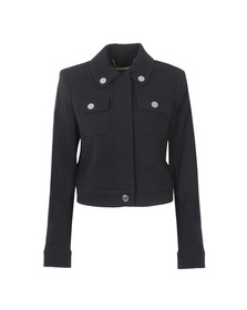 Michael Kors Womens Blue Cropped Snap Jacket