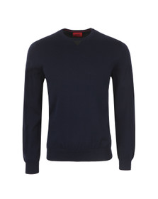 Hugo Mens Blue Sarrow Lightweight Crew Jumper