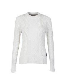 Superdry Womens White Saunton Cable Knit