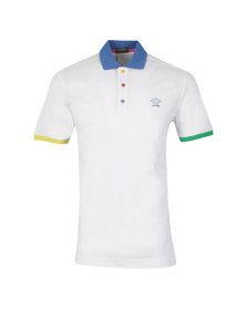 Paul & Shark Mens White Knitted SS Contrast Collar Polo