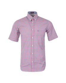 Paul & Shark Mens Red Woven SS Small Check Shirt
