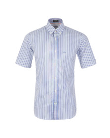 Paul & Shark Mens White Woven SS Stripe Shirt