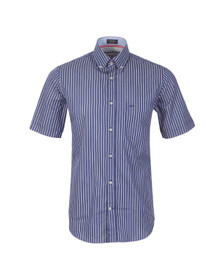 Paul & Shark Mens Blue Woven SS Fine Stripe Shirt